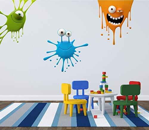 Red Parrot Graphics Peinture Splat Kids Fun Art Mural Autocollant Chambre à Coucher Salle de Jeux, Small (See discription)
