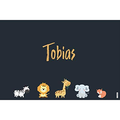 schildgetier Tobias Türschild Namensschild Tobias Geschenk mit Namen und süßen Tier Motiven 30 x 20 cm Dekoschild Schild mit Tieren