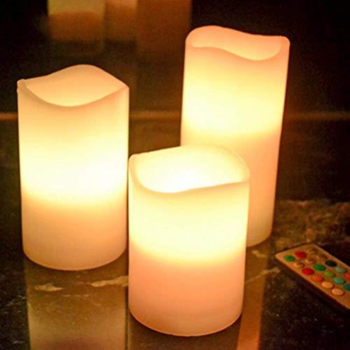 XXLYY Luces LED para Velas, Velas LED sin Llama parpadeantes con Control Remoto, luz LED para té para Bodas, Festivales de cumpleaños (3 Piezas, luz Colorida)