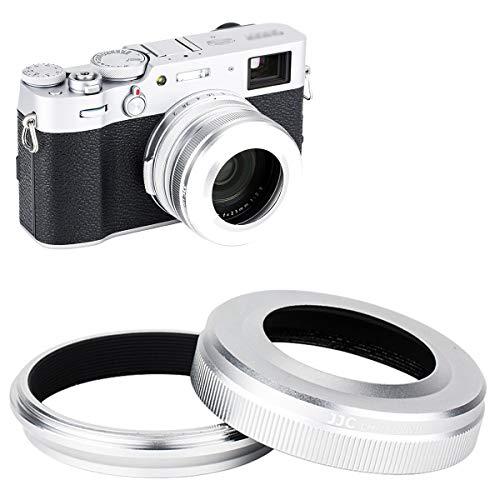 JJC Gegenlichtblende mit Adapterring für Fujifilm Fuji X100V X100 X100S X100T X100F Kameras, ersetzt Fujifilm LH-X100 Gegenlichtblende und AR-X100 Adapterring - Silber