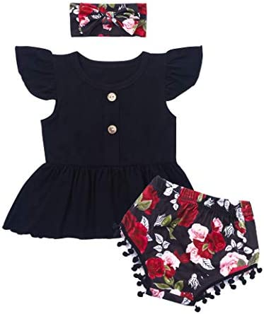 Von Kilizo Toddler Infant Girl Clothes Short Sleeveless Solid Ruffled Pants 2Pcs Cute Summer product image