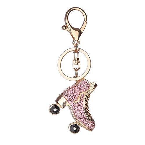 dontdo Schlüsselanhänger, kreativer Strass-Rollschuh-Anhänger für Damen, Rucksack, Ornamente, Geschenk rose