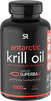 Antarctic Krill Oil 1000mg  Double Strength  with Omega-3s EPA & DHA + Astaxanthin | IKOS 5-Star Certified & Non-GMO Verified  60 Softgels