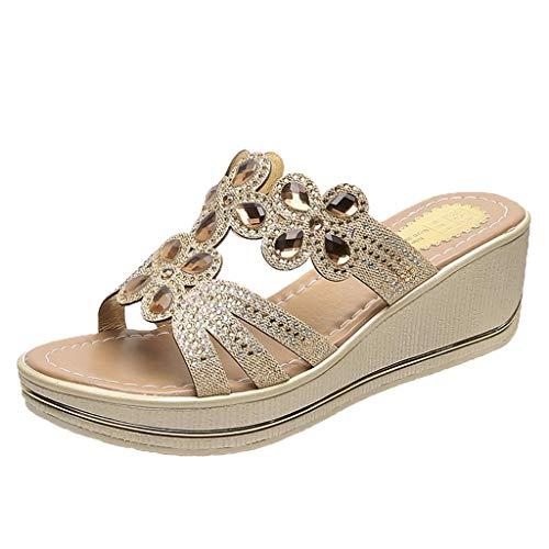 Chaussures Femme Été Sandales Compensées Femmes Tongs Femmes Décoration de Bohême Strass Chaussures de Plage à Talons Hauts Mules Résille Creux