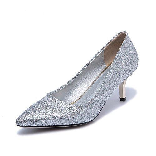 VogueZone009 Damen Mittler Absatz Weiches Material Rein Ziehen auf Spitz Zehe Pumps Schuhe, Silber, 39