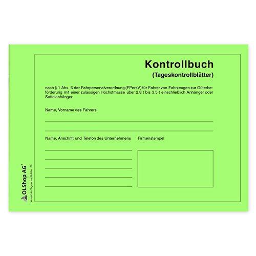 20 Persönliche Kontrollbücher DIN A5 quer, Tageskontrollblätter, Fahrtenkontrollbuch, Kontrollblätter, Persönliches Kontrollbuch, perforiert - Seiten einzeln heraustrennbar