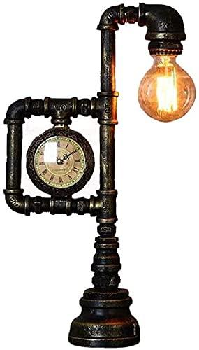 ZMY Steampunk Retro Industrial Agua Tubo lámpara de Mesa Creativa Personalidad Noche iluminación labrado Hierro metálico Escritorio Escritorio Escritorio Barra Bar Restaurante sofoco luz e27 Edison