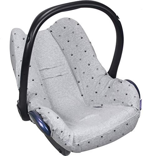 Original Dooky Seat Cover Schonbezug Light Grey Crowns für Babyschale Universalgröße geeignet für 3 und 5 Punkt Gurtsystem Autositz, für Altersgruppe 0+, hell grau