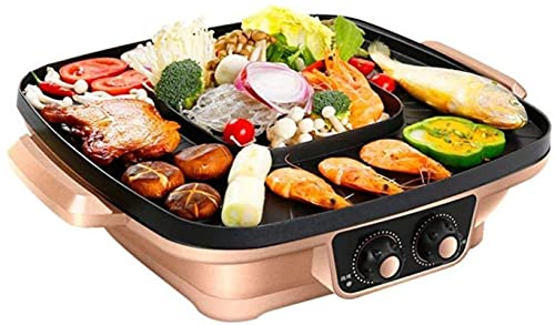 1200 W Elettrico Teppanyaki Top Grill Grill Griddle BBQ Barbecue Camping Party Festival Cook / Frying Pan BBQ Machine (Colore: Gold)