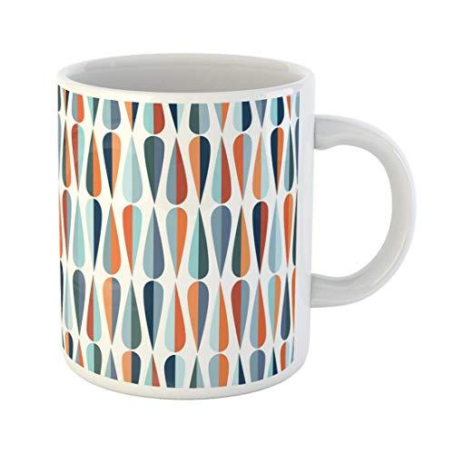 Taza de café Mid Century Modern Retro con formas de gota en varios tonos de color para todas las tazas de cerámica de 11 oz Taza de té