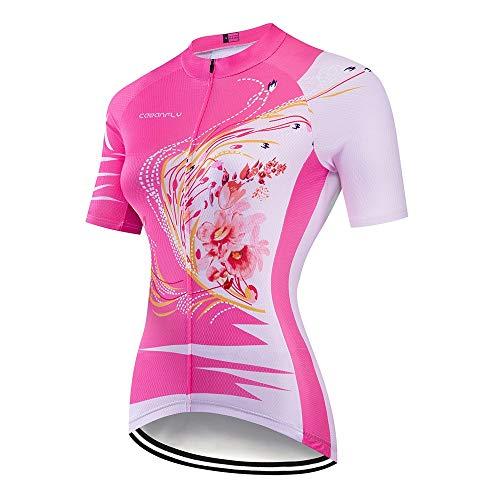 YuYzHanG Damen-Radtrikot Frauen Kurzarmhemden Sommerkleidung Fahrrad Fahrradkleidung Fahrradkleidung Trocknen Atmungsaktiv Feuchtigkeitstransport Bequem und Atmungsaktiv (Color : A2, Size : M)