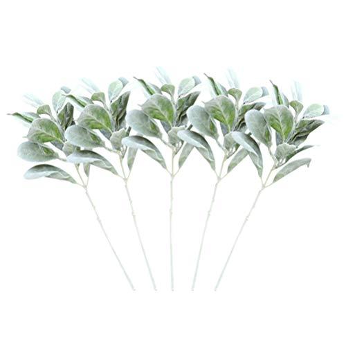 Cabilock 5pcs Artificial Flocked Lamb Ear Leaf Stems Fake Rabbit Ear Greenery Bouquets for Home Office Floral Arrangement (Green)