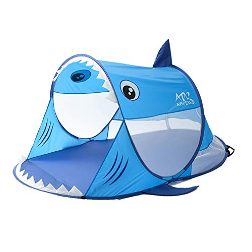 YQY Large 2 Person Pop Up Tent, Hiking Camping Tent Foldable Outdoor Shark Tent for Children Family on Garden Beach, Ventilated and Durable, Blue