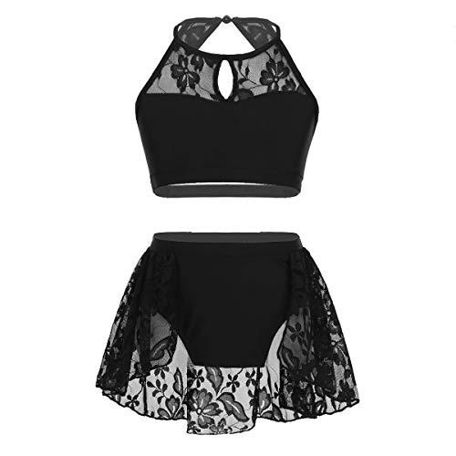 inlzdz Kinder Mädchen Neckholder-Tanz Crop Top BH mit Röckenhose, Gymnastik-Ballett-Tanz-Outfit Modern Dancewear Kostüme 6-7 Jahre Schwarz