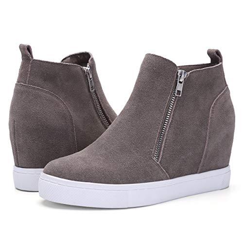 Athlefit Damen Sneaker mit verstecktem Keilabsatz und Reißverschluss, Damen, NEWWS156-BROWN-10, braun, 9.5-10