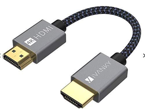 Cabo HDMI 4K, 30 cm, iVANKY 18 Gbps de alta velocidade HDMI 2.0, 4K HDR, HDCP 2.2/1.4, 3D, 2160P, 1080P, Ethernet - Cabo HDMI trançado 32AWG, retorno de áudio (ARC) compatível com UHD TV, Blu-ray, monitor