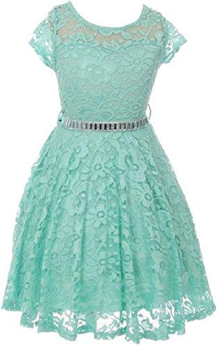Little Girl Cap Sleeve Lace Skater Stone Belt Flower Girls Dresses (19JK88S) Mint 4