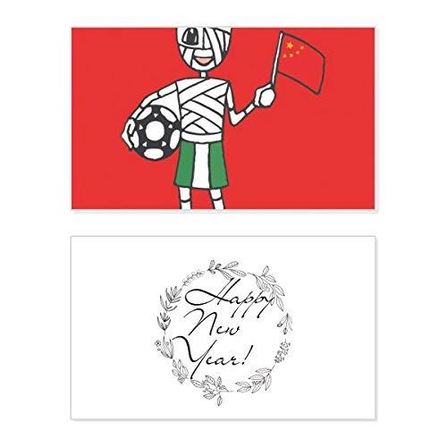 Nigeriaanse voetbal mama Chinese vlag nieuwjaarskaart herdenkingsbericht zegen