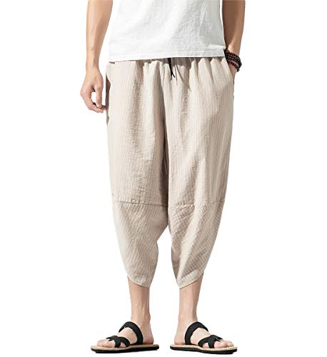 Mirecoo - Pantalón tipo harem de algodón con bolsillos para hombre, estilo bohemio, hippie, con pernera ancha, para verano Beige Café claro 27-32
