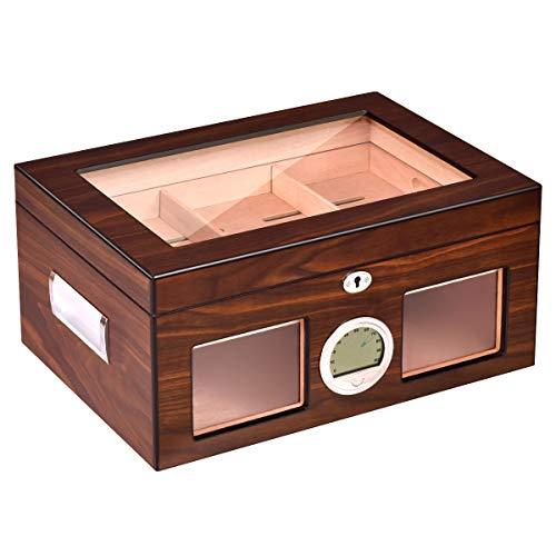 Giantex Desktop Cigar Humidor 50-100 Cigars Walnut Finished Tempered Glasstop Lockable w/Humidifier Hygrometer