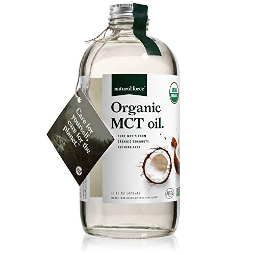 Natural Force Organic MCT Oil – Pure Glass Bottle – Made from 100% Cold Pressed Virgin Coconut Oil + Certified Keto, Paleo, Kosher, Vegan & Non-GMO – Lab Tested for Quality and Purity - 16 Ounce