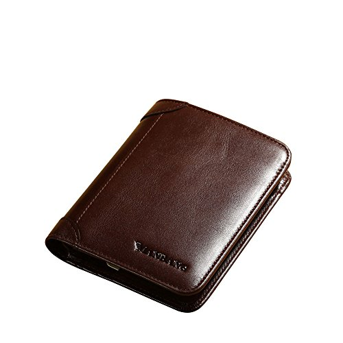 Men's Genuine Cowhide Leather Extra Capacity Bifold Wallet Coffee