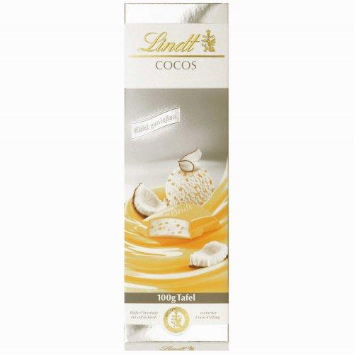 Lindt & Sprüngli Sommertafel, weiße Chocolade mit erfrischend exotischer Cocos-Füllung, 100 g