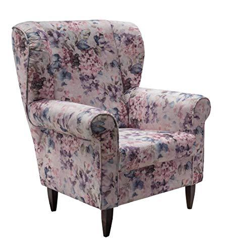 lifestyle4living Ohrensessel mit Blumenmuster Vintage   Der perfekte Sessel für entspannte, Lange Fernseh- und Leseabende. Abschalten und genießen!