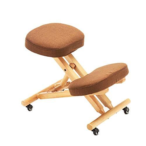 LWLEI Las sillas ergonómicas Silla de Rodilla Ajustable Reclinatorio heces del Ministerio del Interior ortopédica con la Postura de la Rueda Durable (Color : Marrón)