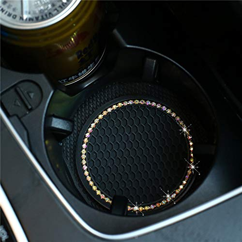Universal Vehicle Bling Cup Holder Insert Coaster Car Interior Accessories-2.75 inch Silicone Anti Slip Crystal Rhinestone Car Coaster-Universal (Pack of 2) (Black [AB Color Diamond])