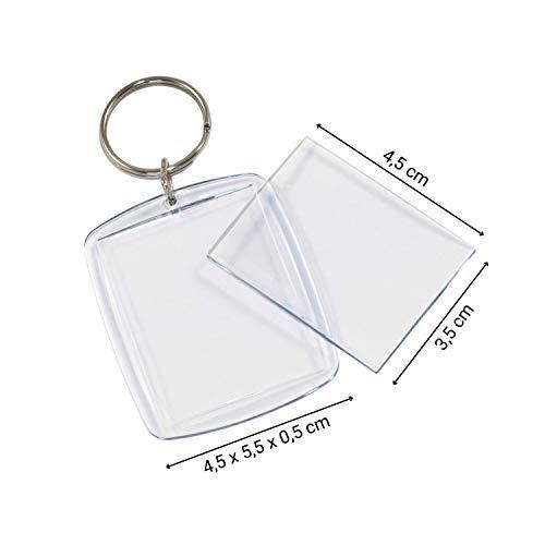 tiroba 2 Stück | Acryl Foto Schlüsselanhänger mit Schlüsselring | auch für Passbild Lichtbild Größe 4,5 x 3,5 cm/Leer Schlüsselring Bilderrahmen