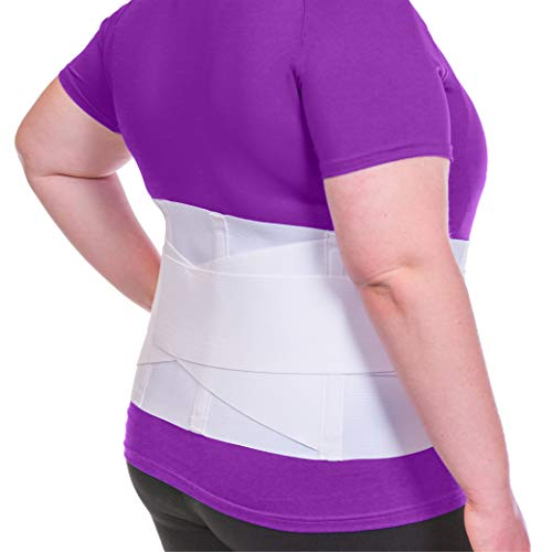 BraceAbility Women's Back Brace for Female Lower Back Pain - Lightweight Soft White Elastic Lumbar Compression Support Belt is Discreet Under Clothes for Ladies, Nurses, Walking (XL)