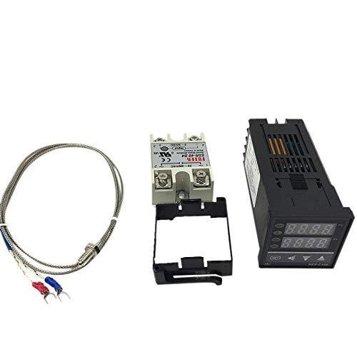 Yongenee Rex-C100 Digital Pid Controlador de Temperatura del termostato SSR de Salida + MAX.40A SSR Relay + K sonda termopar RKC Herramientas industriales