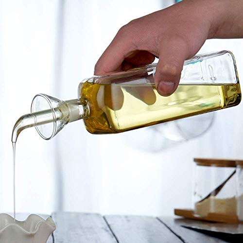 Lanhope Botella de aceite de vidrio, dispensador de aceite de oliva, botella de vidrio, dispensador de medición de vinagre, con boquilla para cocina y barbacoa (500 ml, 2 unidades)