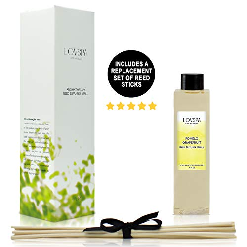 LOVSPA Pomelo Grapefruit Reed Diffuser Oil Refill with Replacement Reed Sticks | Energizing Blend of Subtropical Grapefruit Infused with Pomelo and Agave Nectar, 4 oz| Vegan - Made in The USA