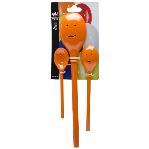 Zak Designs Faces 3-piece Plastic Kitchen Spoon Set, Orange