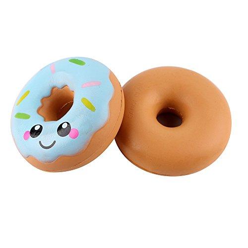 DIII Juguete de donut esponjoso, para apretar la elasticidad, para aliviar el estrés, divertido, para adultos, niños, adornos, colgantes, regalos de cumpleaños