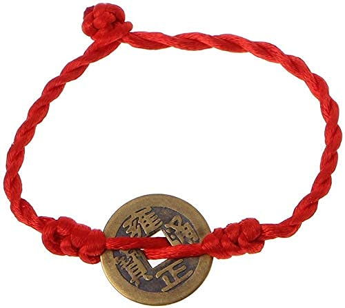 Pulseras de Hilo Rojo con Colgante de Monedas de Cobre de la Suerte de Brazalete de Riqueza de Feng Shui Chino para bebés, Mujeres y niñas (tamaño: A)