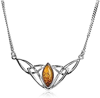 Sterling Silver Celtic Love Knots Amber Necklace 18 Inches