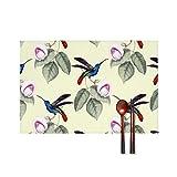 Huyotop Platzdeckchen mit Vogel-Motiv, Vintage-Tapete, weich, faltbar, hitzebeständig, waschbar, PVC, 4 Stück