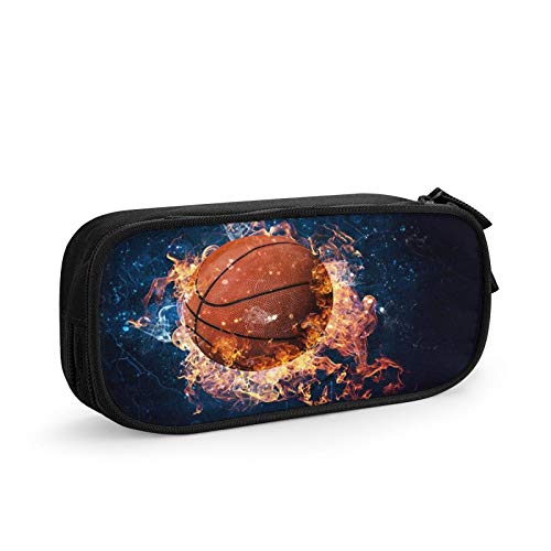 Basketball Crash Blue Lighting Lightweight Triple Pockets Pencil Cases with Big Compartments for School Stationary