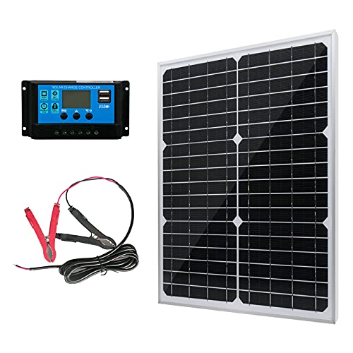 20W 12V Solar Panel Battery Charger Kit 20 Watt 12 Volt Monocrystalline PV Module for Car RV Marine Boat Caravan Off Grid System with 10A Charge Controller + Extension Cable