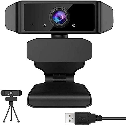 GEHUAY Webcam per PC con Microfono - Otturatore Webcam 1080P 30fps Telecamera PC Videoconferenza Webcam Full HD Stream Compatibile con Mac, Microsoft