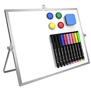 Dry Erase White Board 16 X12  Large Magnetic Desktop Whiteboard with Stand 10 Markers 4 Magnets 1 Eraser Portable Double-Sided White Board Easel for Kids Memo to Do List Desk School