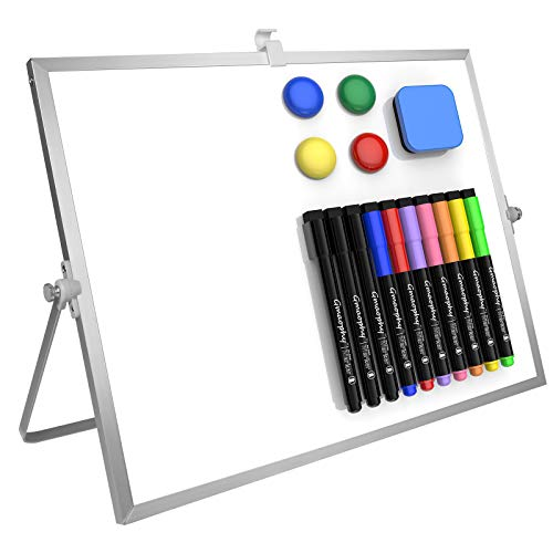 """Dry Erase White Board, 16""""X12"""" Large Magnetic Desktop Whiteboard with Stand, 10 Markers, 4 Magnets, 1 Eraser, Portable Double-Sided White Board Easel for Kids Memo to Do List Desk School"""