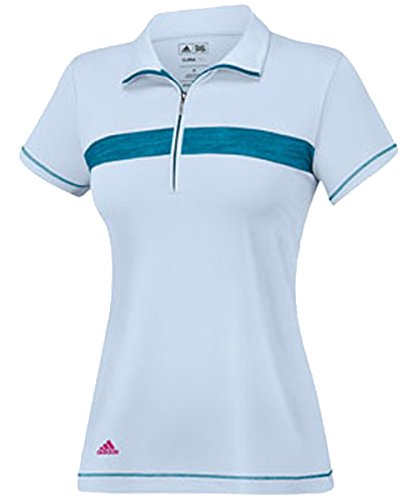 adidas Golf Women's Puremotion Textured Print Zip Polo, Dew/Teal/White, Medium