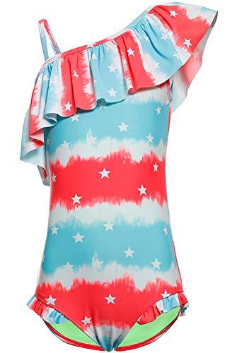 DUSISHIDAN Bademode Badeanzüge für Mädchen Kinder Sommer Schwimmanzug Süße Bikinis Badebekleidung Schulter Ärmel Einteiliger Rot-Blaue Sterne XL