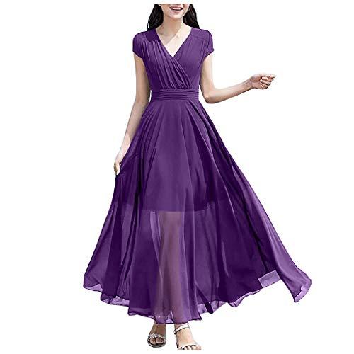 Eaylis Damen Kleid Mode Sexy Rock Casual Solid V-Ausschnitt Asymmetrischer Saum Kurzarm Chiffon Langes Kleid