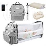 Diaper Bag Backpack, Foldable Baby Sleeping Bed with Changing Station of Boys Girls, Baby Diaper Bag with USB Charging Port, Multipurpose Waterproof Portable Travel Back Pack for Moms Dads (Grey)