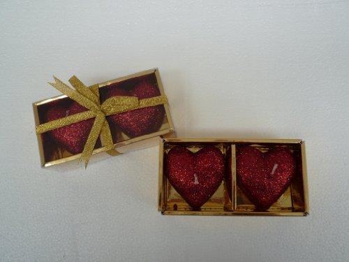 Bella-Vita GmbH 2 x 2er Set Kerzen in Herzform, Farbe rot